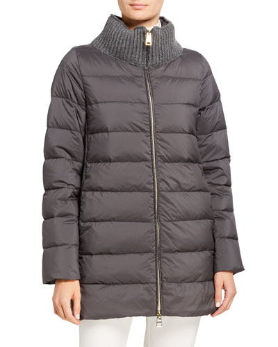Cable Knit-Back Zip-Up Puffer Coat