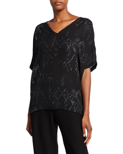 Plus Size Marrakech Printed V-Neck Short-Sleeve Top