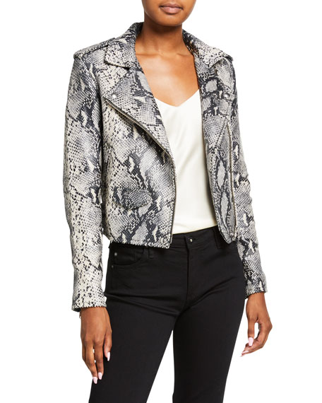 Iro  Ashville Cropped Snake-Print Leather Jacket