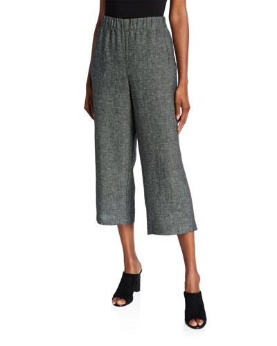 Organic Linen Tweed Straight-Leg Crop Pants