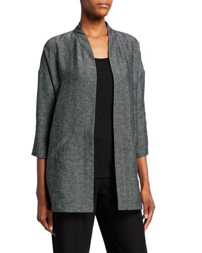 Plus Size Organic Linen Tweed 3/4-Sleeve Kimono Jacket