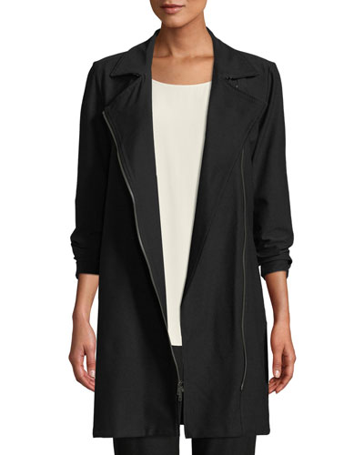 Washable Stretch Crepe Moto Jacket