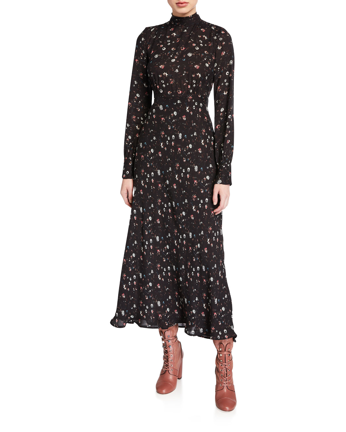 Iro Dresses CASUAL HIGH-NECK FLORAL LONG-SLEEVE DRESS