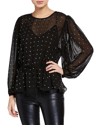 Bendis Jeweled Chiffon Full-Sleeve Blouse