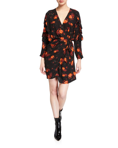 Nucha Floral-Print Ruffle Wrap Dress