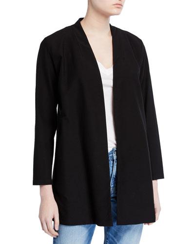Petite Washable Crepe Button-Front Bracelet-Sleeve Jacket