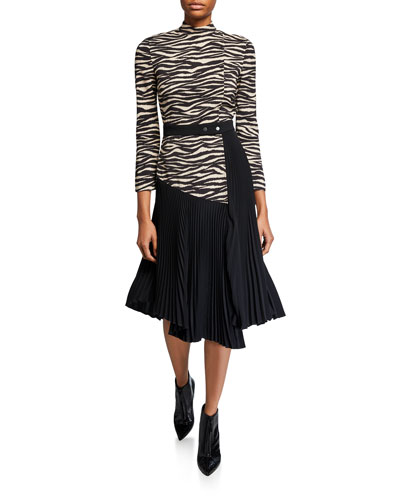 Peyton Zebra Mock-Neck 3/4-Sleeve Pleated Dress