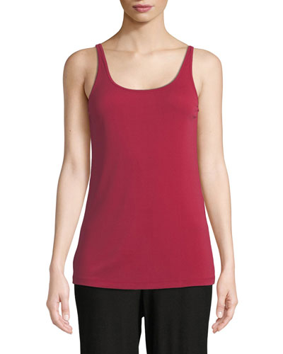 Plus Size Scoop-Neck Stretch Silk Jersey Cami