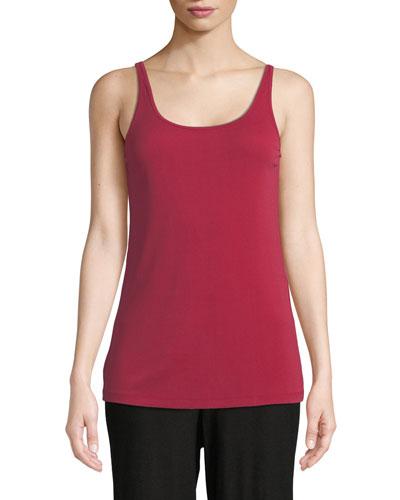 Plus Size Scoop-Neck Stretch Silk Jersey Cami