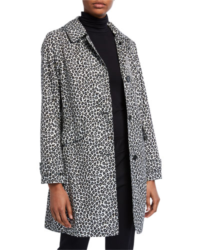 leopard print button-front hooded midi coat