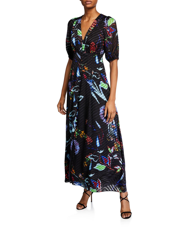 Tanya Taylor Dresses ARIELA FLORAL BURNOUT LONG DRESS