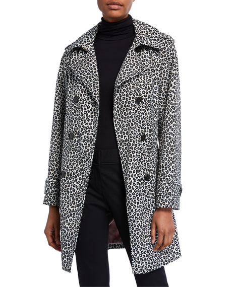 kate spade new york leopard print double-breasted belted trench coat