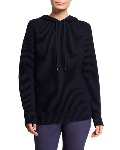 Ribbed Wool Hooded Sweater