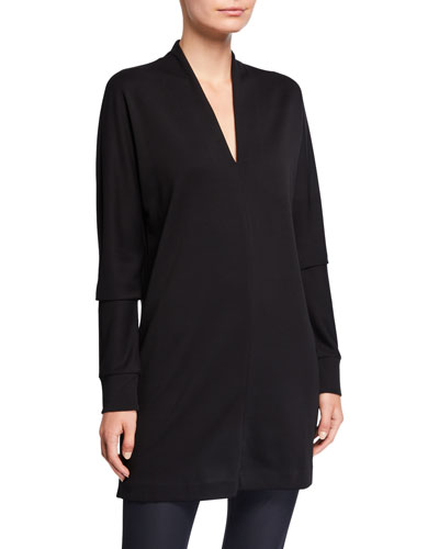 V-Neck Long-Sleeve Ponte Top