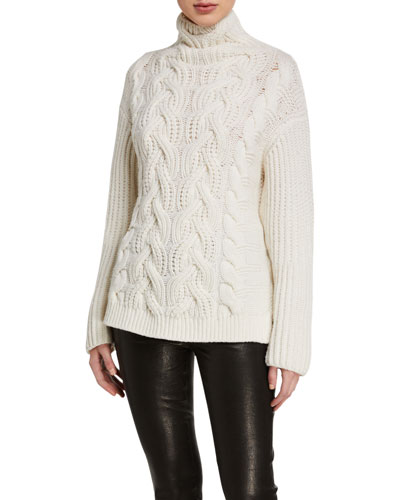 Wool Turtleneck Cable Sweater