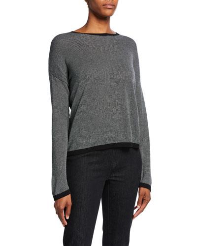 Petite Trimmed Long-Sleeve Crewneck Sweater