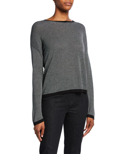 Plus Size Trimmed Long-Sleeve Crewneck Sweater