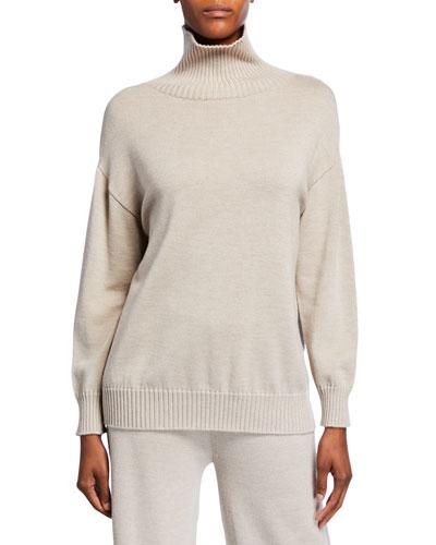 Ribbed Trim Wool Turtleneck Sweater