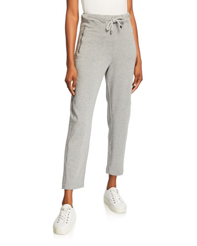 Drawstring Front Jersey Ankle Pants w/ Pockets