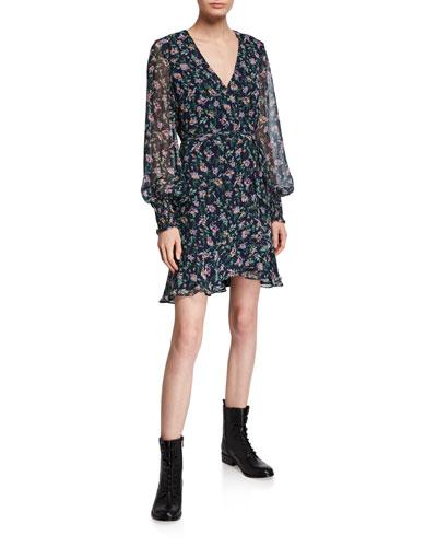 Miley Floral-Print Short Flounce Dress