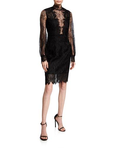 Clarissa Lace High-Neck Cocktail Dress