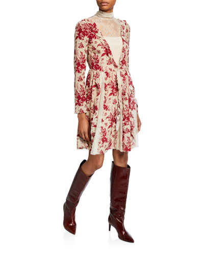 Floral Tapestry Lace High-Neck Long-Sleeve Dress