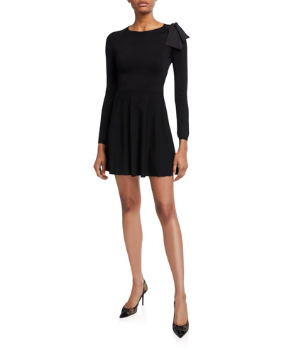 Long-Sleeve Mini Dress with Bow Shoulder & Sheer Inset
