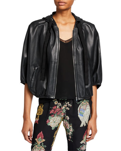 Zip-Front Hooded Leather Jacket