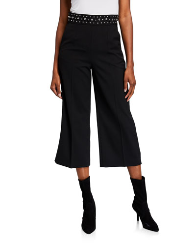 Stretch-Wool Stud-Waist Wide-Leg Crop Pants
