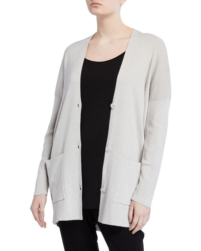 Petite Organic Cotton/Silk V-Neck Boyfriend Cardigan