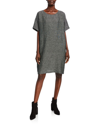 Petite Organic Linen Elbow-Sleeve Tweed Dress