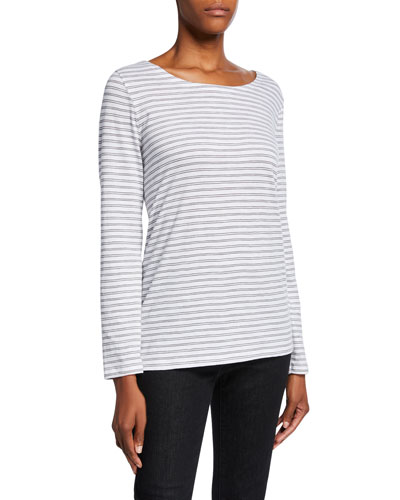 Petite Striped Organic Cotton Slub Long-Sleeve Box Tee