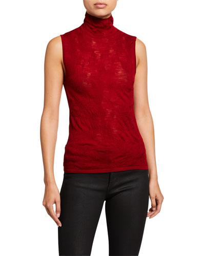 Elasticized Wool Sleeveless Turtleneck Top