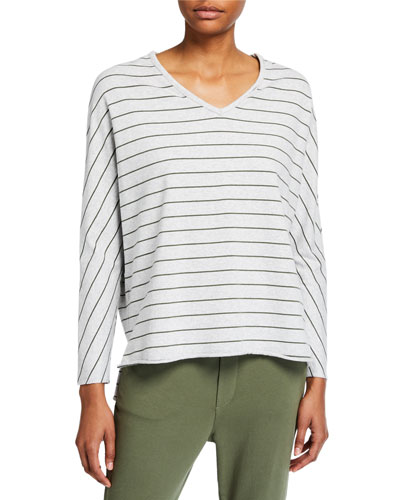 Striped Deep V-Neck Long-Sleeve Tee