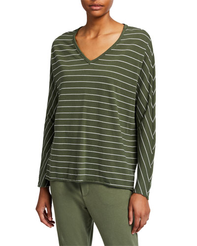 Striped Deep V-Neck Long-Sleeve Cotton Tee
