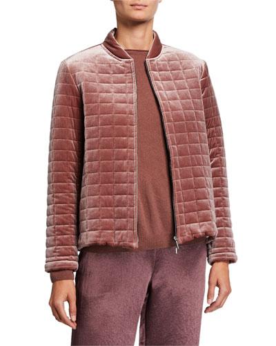 Zip-Front Quilted Velvet Jacket