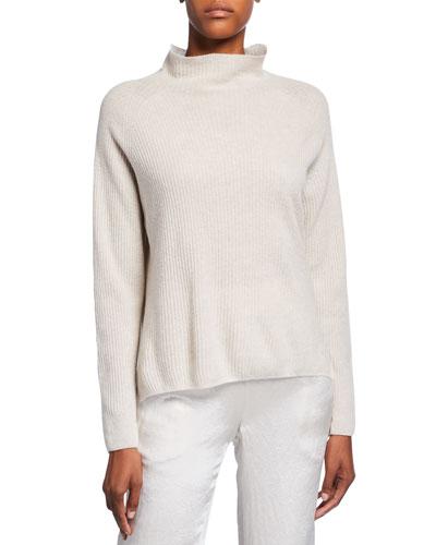 Funnel-Neck Wool-Blend Rib Sweater