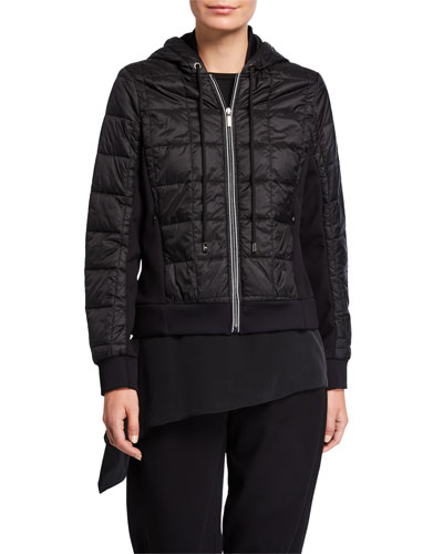 Zip-Front Quilted Hoodie Jacket with Ponte Side Inset