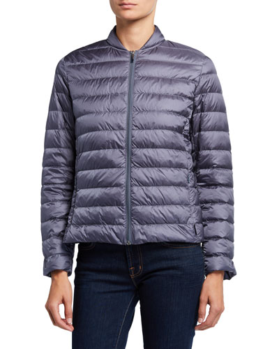 Channel Quilted Zip-Front Jacket