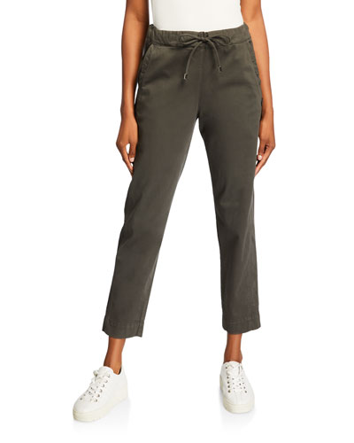 Drawstring Front Pocket Ankle Pants