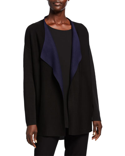 Silk/Organic Cotton Piped Cascade Front Cardigan