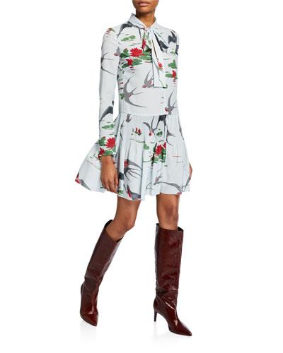 Swallows & Waterlilies Tie-Neck Long-Sleeve Dress
