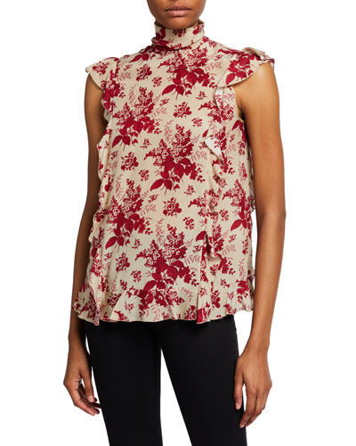 Floral Tapestry-Print Sleeveless Ruffle Blouse