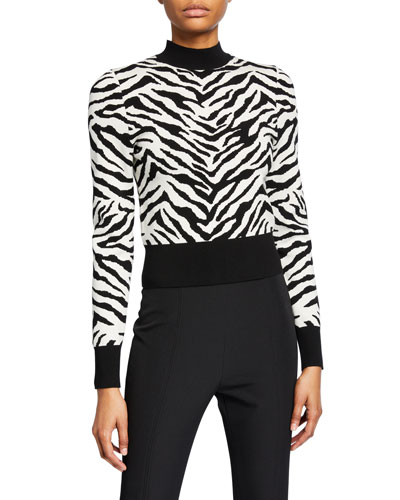 Lola Animal-Print Mock-Neck Sweater