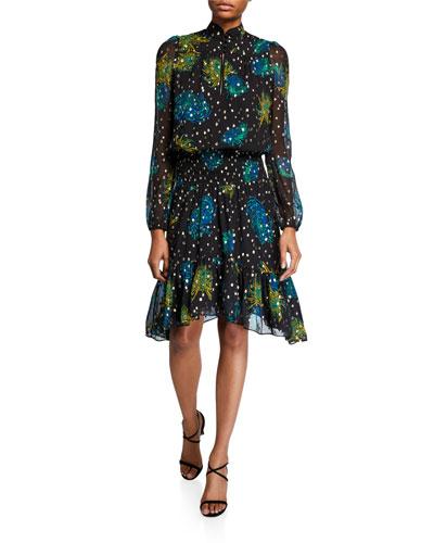 Reese Printed High-Neck Metallic Dress