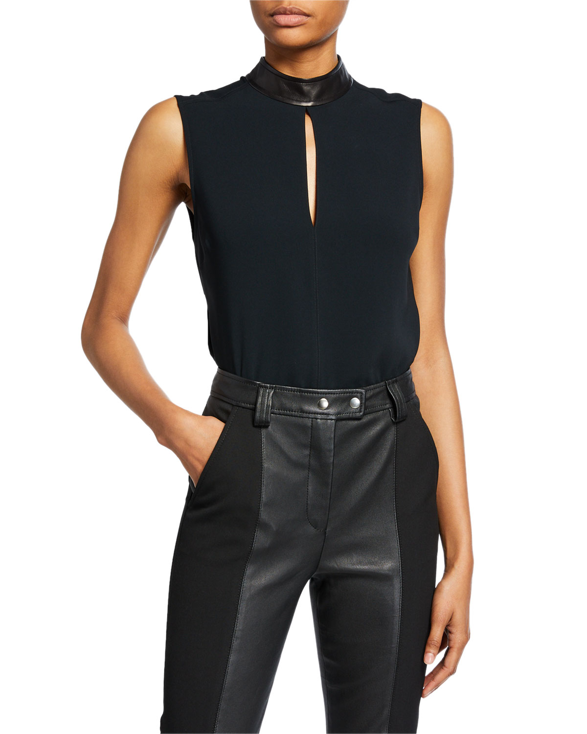 A.l.c Tops DALLAS SLEEVELESS COLLARED KEYHOLE TOP