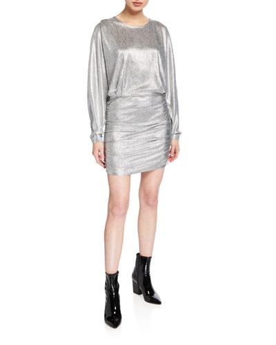 Silar Long-Sleeve Metallic Dress