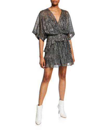Spina Metallic Ruffle Dolman-Sleeve Dress