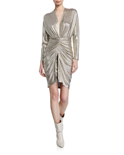 Cilty Gathered Metallic Cocktail Dress