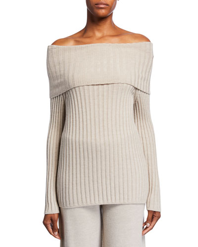 Ribbed Off-the-Shoulder Wool Sweater